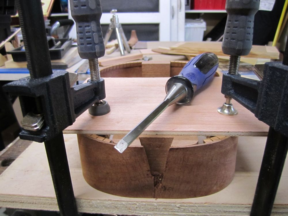 Cutting open the dovetail for the neck
